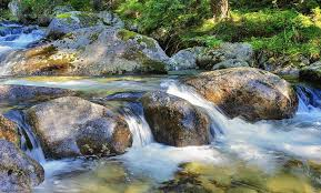 Flowing water over rocks in the stream. Photograph by Hamik ArtS