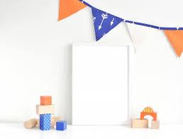 Orange And Navy Kids Room Interior And White Frame Premium Photo
