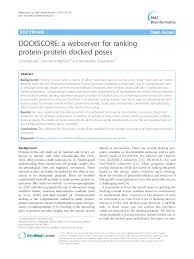 PDF) DOCKSCORE: a webserver for ranking protein-protein docked poses |  Oommen K Mathew PhD - Academia.edu