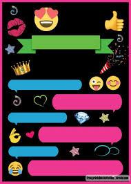Free Printable Emoji Chat Invitation Template Emoji Fiesta