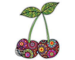 Cherry Sticker Colorful Floral Car Decal Laptop Decal Wall Art Etsy