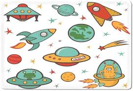 Amazon Com Kids Room Bath Mat Outer Space Theme Rocket Space Ship Ufo Stars Planets Alien Earth Saturn Galaxy Print Outdoor Mat 20 X 32 Kitchen Dining