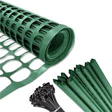 Amazon Com Safety Fence 25 Steel Plant Stakes Mesh Snow Fencing Dark Green Plastic Garden Netting 4 X 100 Feet Fence 25 4 Foot Stake Temporary Above Ground Barrier For Construction