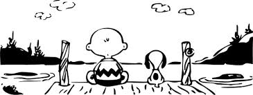 Charlie Brown And Snoopy On A Dock Decal Sticker 02