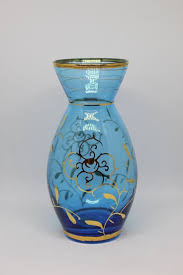 glass vase made in italy blue gold trim