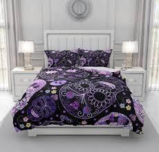purple sugar skull bedding set