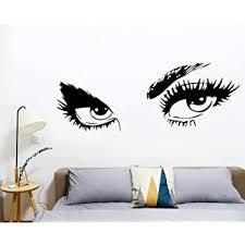 Decalgeek Beautiful Eyes Removable Wall Art Decal Sticker Decor Mural Diy Vinyl 23 6 Inch X 49 2 Inch Black Childrens Wall Decor Amazon Com