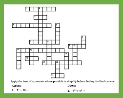 laws of exponents crossword puzzle