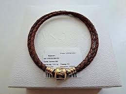 leather bracelet gold clasp 38 cm