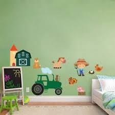 Farm Animals Tractor Wall Sticker Decal Decor Art Mural Nursery Kids Room Wc113 Ebay