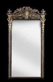italian ebonised and silvered mirror