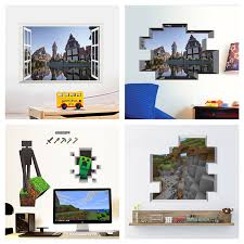 Popular Game Minecraft Wall Art Stickers For Kids Room Home Decoration Diy 3d Window Broken Hole Wall Mural Decals Pvc Poster Buy At The Price Of 3 89 In Aliexpress Com Imall Com
