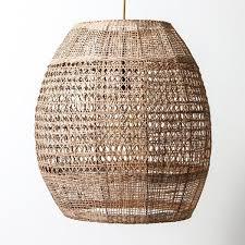 natural cane woven pendant light