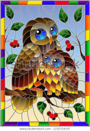 stained glass style fairy owl