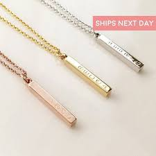 vertical bar necklace personalized