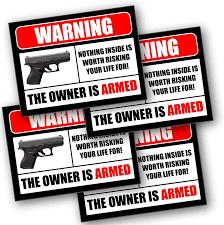 Amazon Com 2nd Amendment Handgun Pistol Gun Owners Warning Security Sticker Decal 10002 Automotive