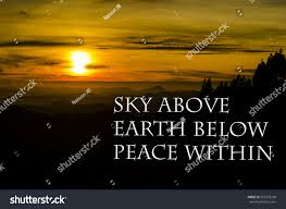 peace quotes sky above earth below stock photo edit now