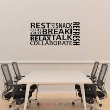 Break Room Collage Office Wall Decal Quote Teamwork Decor Etsy