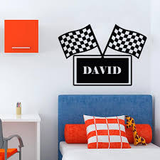 Personalized Race Flag Wall Decal Wall Decal World