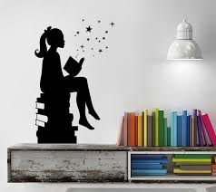 Girl Reading Books Magic Wall Decal Shop Decals From Dana Decals Vinyl Art Stickers Girl Reading Book Book Wall