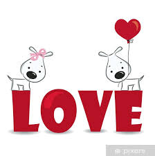 Funny Dogs Couple On The Red Word Love Vector Illustration Wall Mural Pixers We Live To Change