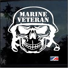 Marine Veteran Skull Military Window Decal Stickers Custom Sticker Shop