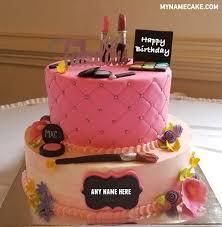 write name on makeup birthday cake