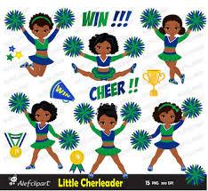 Cheerleader Multicultural Digital Clipart Set /Green Bue by AlefClipArt