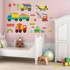 Decalmile Construction Transportation Wall Decals Car Truck Plane Boys Wall Stickers Kids Bedroom Baby Nursery Playroom Wall Decor Wall Stickers