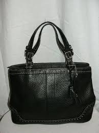 coach purse small hampton black pebbled