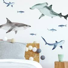 Sharks Peel And Stick Wall Decals Roommates Decor