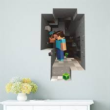 Cartoon Game Minecraft 3d Wall Stickers For Kids Rooms Mural Poster Home Decor Wall Decals Poster