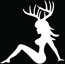 Amazon Com Sexy Girl Deer Buck Antlers Hunting Car Truck Window Bumper Vinyl Graphic Decal Sticker 6 Inch 15 Cm Wide Gloss White Color Automotive