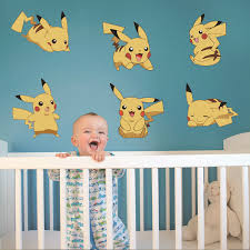 Cartoon Amination Pokemon Poster Stickers Pokemon Go Pikachu Wall Stickers For Kids Bedroom Mural Wall Decals Home Decor Free Shipping Worldwide