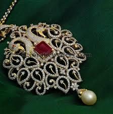 leafy motifs peacock diamond pendant