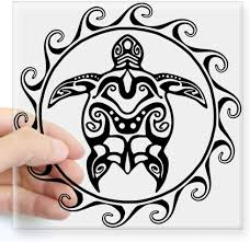 Amazon Com Cafepress Black Tribal Turtle Sun Sticker Square Bumper Sticker Car Decal 3 X3 Small Or 5 X5 Large Home Kitchen
