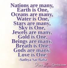 nations are many earth is one oceans are many water is one