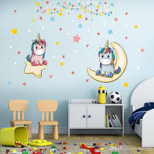 Cartoon Unicorn Wall Decal Pvc Self Adhesive Cute Horses Wall Sticker Murals For Babys Room Kids Room And Nursery Decor Wall Decals Home Wall Decals Home Decor From Carrierxia 4 02 Dhgate Com