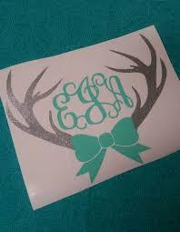 Deer Antler Bow Monogram Deer Monogram Southern Decal Car Decal Preppy Monogram Glitter Decal So Monogram Decal Yeti Initials Decal Glitter Decal