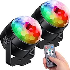 Amazon Com 2 Pack Sound Activated Party Lights With Remote Control Dj Lighting Rgb Disco Ball Light Strobe Lamp 7 Modes Stage Par Light For Home Room Dance Parties Bar Karaoke Xmas Wedding Show