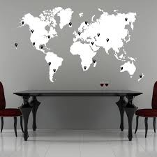 Amazon Com Stickerbrand World Map Wall Decal Sticker W 224 Pins White Map W Red Black White Grey Pins 40 X 70 Easy To Apply Removable Arts Crafts Sewing