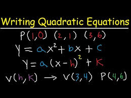 writing quadratic equations in vertex