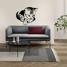 Amazon Com Cat Animal Wall Art Stickers Vinyl Wall Decals For Women And Kids Removable Funny Kitten Black Silhouette Wall Decals For Living Room Bedroom Kindergarten Children Room Home Ir0239