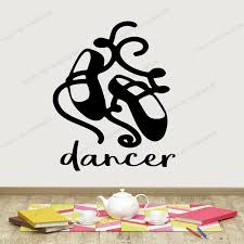 Ballet Dancers Shoes With Personalized Vinyl Decal For Girls Room And Wall Sticker For Bedroom Or Dance Studio Yw 579 Wall Stickers Aliexpress