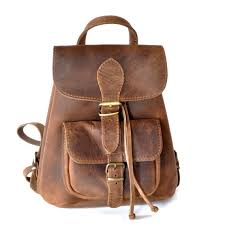 small leather backpack women chestnut