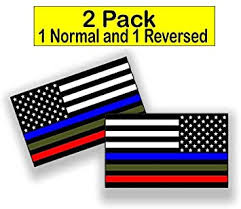 Amazon Com 2 Pack 1 Reversed Police Military And Fire Thin Line Usa Flag Decal American Flag Sticker Blue Green And Red For Cars Trucks For Honor And Support Our Officers And Troops