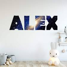 Vwaq Outer Space Galaxy Personalized Name Wall Decal Horizontal Gn14