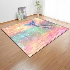 Cartoon Mermaid Carpets Girls Bedroom Decoration Mat Kids Play Mats Soft Flannel Tea Table Area Rugs Living Room Carpet Carpet Aliexpress