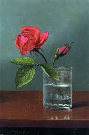 Martin Johnson Heade Red Rose And Bud In A Tumbler On A Shiny Table Wall Decal Contemporary Wall Decals By Art Megamart
