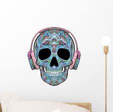 Teal Headphones Sugar Skull Wall Decal Wallmonkeys Com